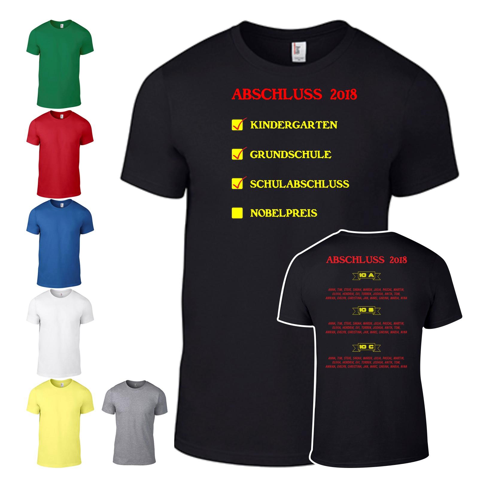 Abschluss Shirt Abschlussshirt T Shirt Abi Schule Mit Allen Namen