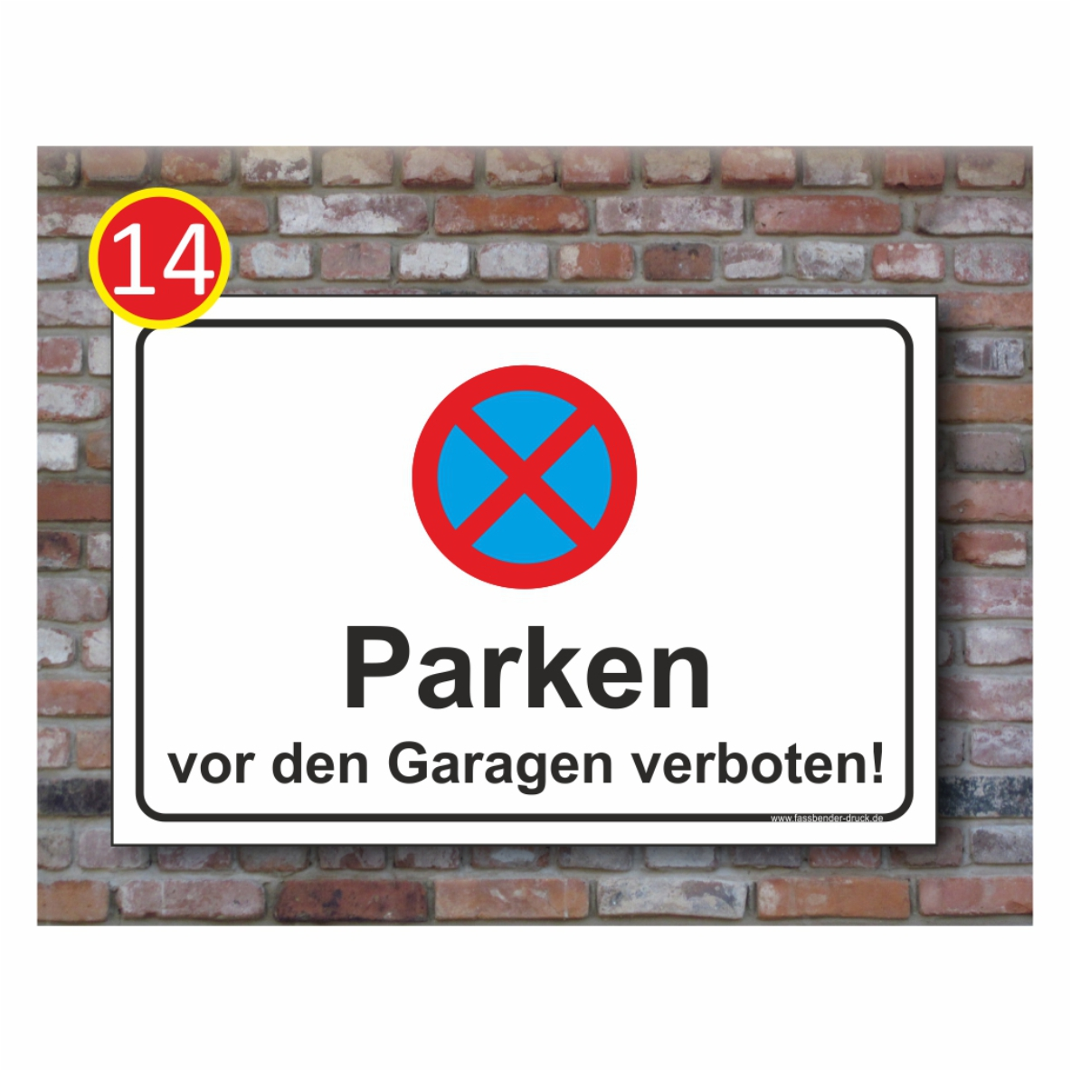 parkverbot schild parken vor den garagen absolut halteverbot verboten 3mm pv14 ebay. Black Bedroom Furniture Sets. Home Design Ideas